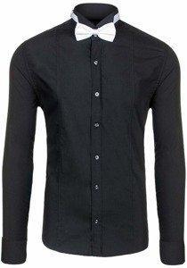 Koszula męska elegancka z długim rękawem czarna Bolf 4702 muszka+spinki