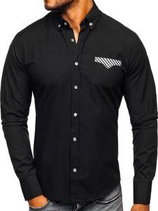 Koszula męska elegancka z długim rękawem czarna Bolf 4711