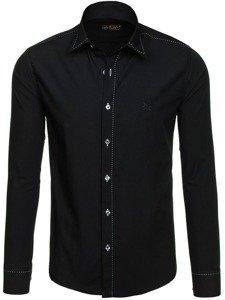Koszula męska elegancka z długim rękawem czarna Bolf 4719