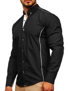 Koszula męska elegancka z długim rękawem czarna Bolf 5722