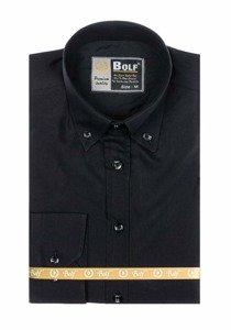 Koszula męska elegancka z długim rękawem czarna Bolf 5821