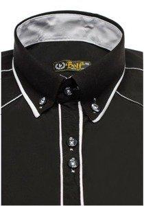 Koszula męska elegancka z długim rękawem czarno-biała Bolf 4777