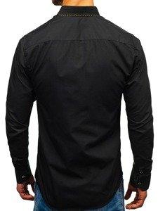 Koszula męska elegancka z długim rękawem czarno-brązowa Bolf 4708