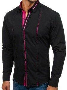 Koszula męska elegancka z długim rękawem czarno-różowa Bolf 2964