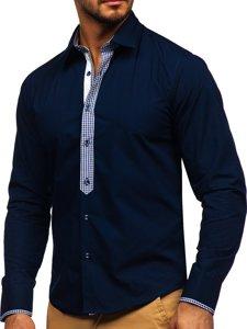 Koszula męska elegancka z długim rękawem granatowa Bolf 6873