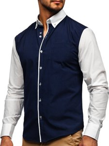 Koszula męska elegancka z długim rękawem granatowa Bolf 6919