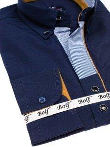 Koszula męska elegancka z długim rękawem granatowa Bolf 6956