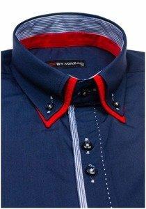 Koszula męska elegancka z długim rękawem granatowa Denley 6859