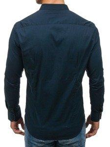 Koszula męska elegancka z długim rękawem granatowa Denley 7197