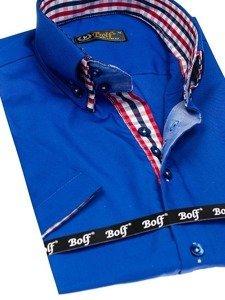 Koszula męska elegancka z krótkim rękawem chabrowa Bolf 3507  15Wpl