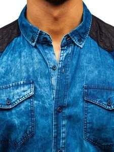 Koszula męska jeansowa we wzory z długim rękawem niebieska Denley 0517
