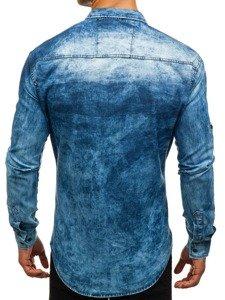 Koszula męska jeansowa z długim rękawem niebieska Denley 0895