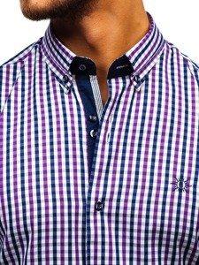 Koszula męska w kratę vichy z długim rękawem fioletowa Bolf 4712