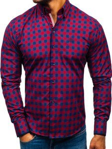 Koszula męska w kratę z długim rękawem bordowa Bolf 5816-A