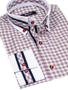 Koszula męska w kratę z długim rękawem bordowa Bolf 8808