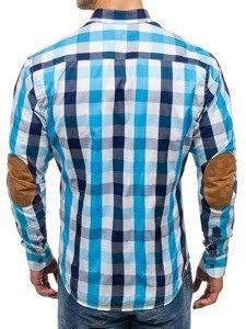 Koszula męska w kratę z długim rękawem turkusowa Bolf 1766