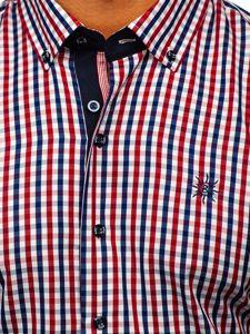 Koszula męska w kratę z krótkim rękawem czerwona Bolf 4510