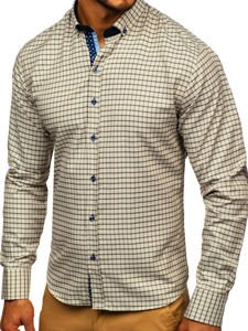 Koszula męska w kratkę z długim rękawem beżowa Bolf 9709