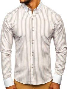 Koszula męska w paski z długim rękawem beżowa Bolf 9713