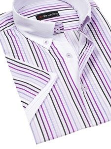 Koszula męska w paski z krótkim rękawem fioletowa Denley 5201