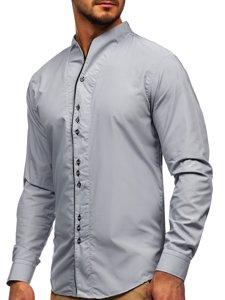 Koszula męska z długim rękawem szara Bolf 5720
