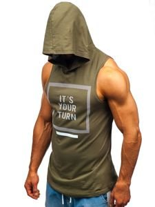 Koszulka tank top męska z nadrukiem i kapturem khaki Bolf 1280