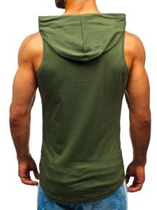 Koszulka tank top męska z nadrukiem i kapturem khaki Bolf 1286