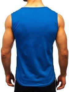 Koszulka tank top z nadrukiem niebieska Denley 14270