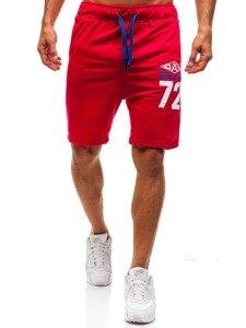 Krótkie spodenki dresowe męskie czerwone Denley EX05-1