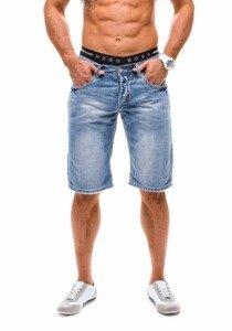 Krótkie spodenki jeansowe męskie błękitne Denley 1059