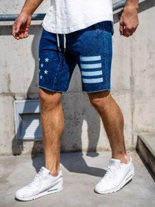 Krótkie spodenki jeansowe męskie granatowe Denley EX02