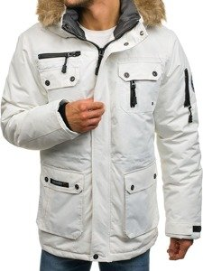 Kurtka męska zimowa parka biała Denley 4960