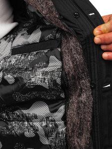 Kurtka męska zimowa parka czarna Denley 1068