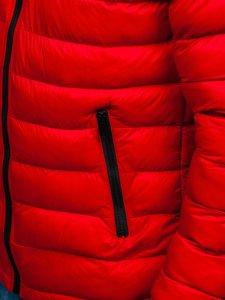Kurtka męska zimowa sportowa pikowana czerwona Denley JP1101