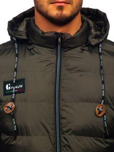 Kurtka męska zimowa sportowa pikowana khaki Denley 50A200