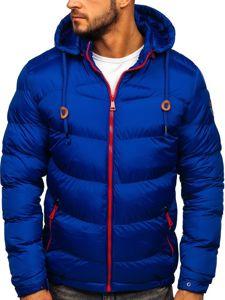 Kurtka męska zimowa sportowa pikowana niebieska Denley 50A156