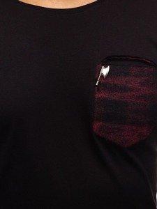 Longsleeve męski bez nadruku czarno-czerwony Denley 355