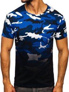 Niebieski t-shirt męski z nadrukiem moro Denley S808