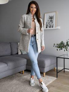 Płaszcz damski ecru Denley 6011-1
