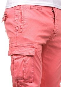 Spodnie bojówki męskie różowe Denley 8380