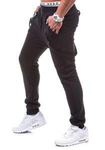 Spodnie dresowe baggy męskie czarne Denley 1106