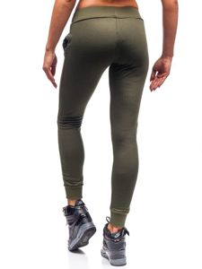 Spodnie dresowe damskie khaki Denley WB11003-A