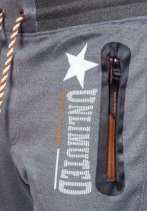 Spodnie dresowe męskie szaro-brązowe Denley 3720