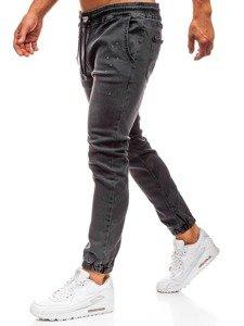 Spodnie jeansowe baggy męskie antracytowe  Denley 2040
