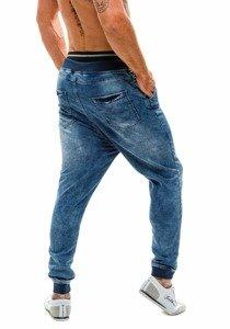 Spodnie jeansowe baggy męskie niebieskie Denley 007b