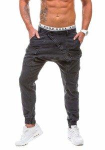 Spodnie jeansowe joggery męskie czarne Denley 191