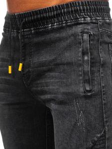 Spodnie jeansowe joggery męskie czarne Denley HY621