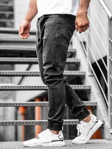 Spodnie jeansowe joggery męskie czarne Denley  KA1101