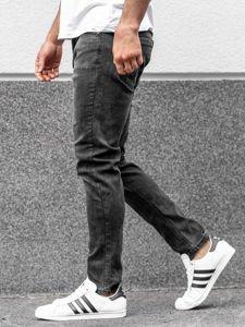 Spodnie jeansowe męskie straight leg czarne Denley KX237