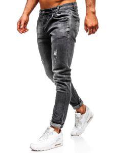 Spodnie jeansowe męskie straight leg czarne Denley KX317